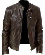 Menand039s Vintage Cafe Racer Brown Retro Cowhide Leather Jacket/retro Leather Jacket