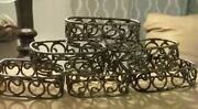 6 Antique Silver Color Hammered Metal Ornate Rounded Rectangle Napkin Rings
