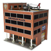 O Scale Led Lighted 6 Figures Animated Helicopter Police Plaza Train Building