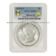 Tied For Finest 1879-cc 1 Silver Morgan Pcgs Ms66+ Pq Approved Illinois Set