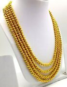 Wedding Gift Gold Chain Necklace 20k Yellow Gold Ball Chain 4 Line Bead Mala