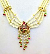 Real Pearl Studded 22k Yellow Gold Necklace Set With Earring Color Stone Jewelry