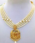 22 K Yellow Gold Handmade Pendant Necklace Studded With Real Pearl Punjabi Jewel