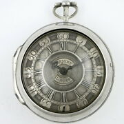 Silver Pocket Watch Pair Cases Verge Champleve Dial - London 1748