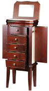 Jewelry And Watch Box Armoires In Cherry Wood 5 Drawer Case By Diplomat 31-557