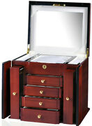 Jewelry Box In Mahogany 4 Drawer Watch Storage Case Display By Diplomat 31-516