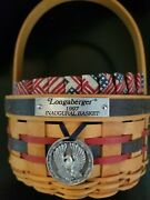Longaberger 1997 Inaugural Basket Complete Combo 4pc Liner Protector Tie On Red