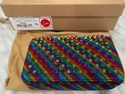 Authentic New Christian Louboutin Multi-color Spiked Andlsquozoompouchandrsquo Bag