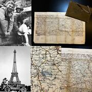 Wwii Major Charles H King Carried Infantry Invasion Paris France Map Ww2 Relic