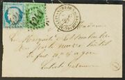 Francia. Over Yv 37, 42b. 1871. 20 Cts Blue And 5 Green Burgundy . Villefran
