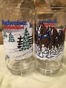 Pair Of Budweiser Clydesdale Christmas Glassware, 1995 Official