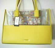 Brand New Nine West Bright Shiny Yellow Clear Large Tote Shoulder Handbag Purse