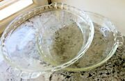 Set Of 2 Vintage Pyrex Fluted Edge 229 Clear Glass 9.5 Deep Dish Pie Plates