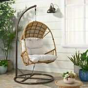 Primo Outdoor Wicker Hanging Basket Egg Chair With Stand