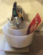 Vintage Sunbeam Mix Master Stand Mixer   W/glass Bake Bowls Beaters And Cord