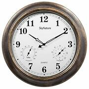 Analog Wall Clock W/ Thermometer And Hygrometer For Indoor / Outdoor Use 18 Inch