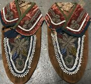 Antique Native American Indian Chief Beaded And Leather Moccasins Dated 1800