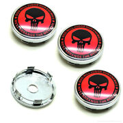 4x 2.36 60mm Red The Punisher Skull Car Wheel Hub Center Caps Sticker Emblem