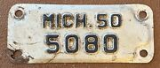 Michigan 1950 Motorcycle License Plate Nice Quality 5080