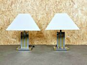 2x 60er 70er Jahre Tischlampe Table Lamp Willy Rizzo For Lumica Braas And Chrome