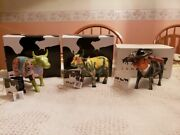 Cow Parade- 3 Cow Figurines-new In Boxes 733673359190 Retired.
