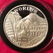 1968 New Orleans Mardi Gras Great Wonders Coin 1 Troy Oz .999 Fine Silver Round