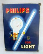 Philips Tube Light And Bulb Advertisement Porcelain Enamel Sign Board Collectible