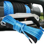 1/4x50and039 10000lbs Synthetic Winch Rope Line Recovery Cable 4wd Atv Utv W/ Sheath
