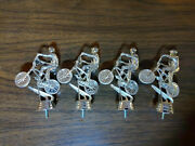 Vintage Lot Of 4 Silver Bmx Plastic Trophy Toppers - Bicycle Race