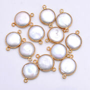 Gold Platted Silver Bazel Freshwater Pearl Connector Gemstone Suppliers Finding