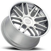 4 22 Staggered Blaque Diamond Wheels Bd-27 Silver Machined With Chrome B12
