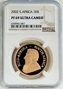 2002 Gold South Africa 1 Oz Proof Krugerrand Ngc Pf 69 Ultra Cameo