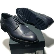 Sale Hugo Boss Italy Blue Leather Captoe 9 42 Menand039s Fashion Oxford Dress Derby