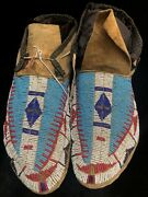 Sioux Beaded Buffalo Hide Moccasins