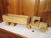 Vintage Amish Handcrafted Wooden 2pc Semi Tractor Trailer Truck 22l Wheels Roll