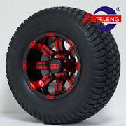 Golf Cart 10x7and039and039 Red-black Tempest Wheels And 20 Street/turf Tires 4
