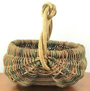 Vtg Handmade Multi Color Buttock Woven Basket With Infinity Knot Vine Handle