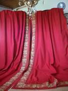 Pair French Antique Chateau Red Curtains C1888