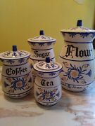 Vintage 1950's Royal Sealy 4pc Canister Set Blue Scrolland Gold