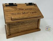 Amish Crafted Oak Recipe Box With Engraved Lid - O Taste And See, New And Nice