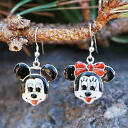 Zuni-sterling Silver And Stone Inlay Micky And Minnie Mouse Earrings By Don Dewa