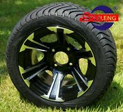 Golf Cart 12 Blade Aluminum Wheels And 215/40-12 Dot Low Profile Tires 4