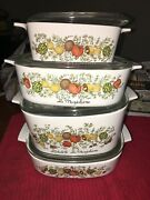 Rare Vintage Corning Ware 1960-1970 Set Of 4 With Pyrex Lid Land039 Echalote And More