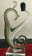 Abstract Art Glass Smoked Grey Figurine Sculpture 9.5 New Heart Couple Pair