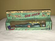Vintage Mechanical Skin Diver Frog Man Tin Toy Made Usa By J Chein And Co