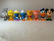 Complete Set Of 8 Chatter Chums From 1976 W/rare Winnie The Pooh And 1983 Smurfs.