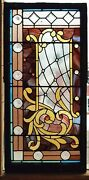 Great Victorian Stained Jeweled Glass Window 26 X 52