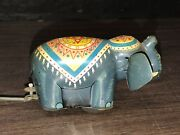 Vintage Tin Toy Circus Parade Elephant And Acrobats Made In Japan Tps 1959