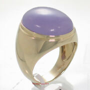 14k Solid Yellow Gold 17x21mm Cabochon Lavender Jade Solitaire Menandrsquos Ring Tpj