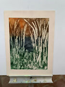 Vintage Rm Schwartz Birch Trees Serigraph On Cast Paper Etching Hand Signed S/n